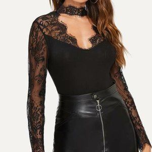 Black Lace Yolk Choker Neck Top in XS and M